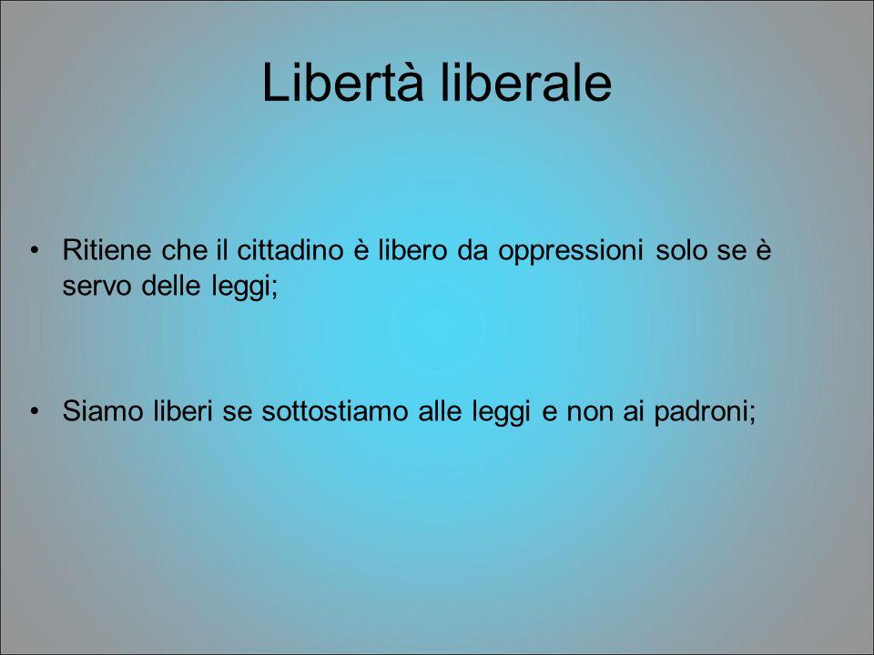 Libertà liberale Ritiene che il cittadino è libero da oppressioni solo se è servo delle leggi;