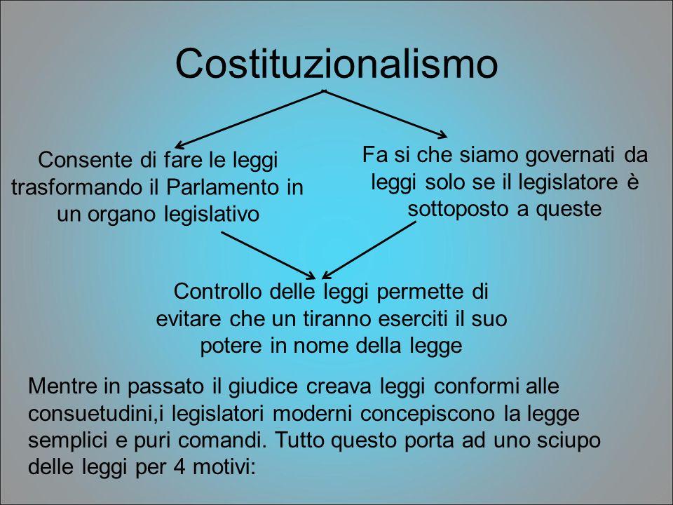 Costituzionalismo Fa si che siamo governati da leggi solo se il legislatore è sottoposto a queste.