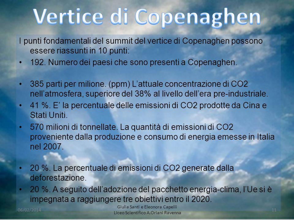 Vertice di Copenaghen I punti fondamentali del summit del vertice di Copenaghen possono essere riassunti in 10 punti: