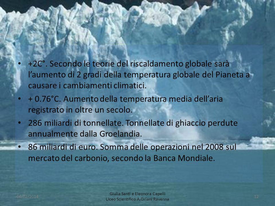 +2C°. Secondo le teorie del riscaldamento globale sarà l'aumento di 2 gradi della temperatura globale del Pianeta a causare i cambiamenti climatici.