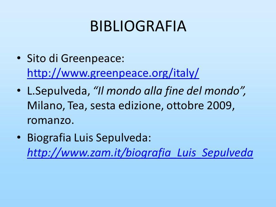 BIBLIOGRAFIA Sito di Greenpeace: http://www.greenpeace.org/italy/