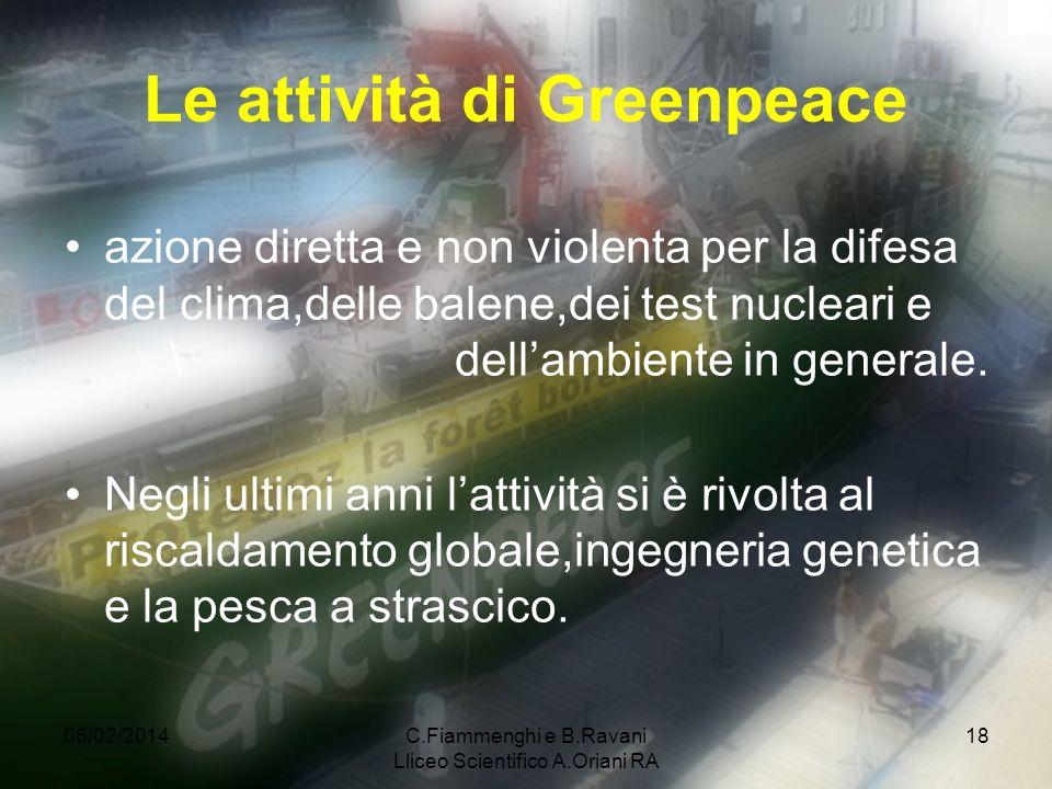 Le attività di Greenpeace