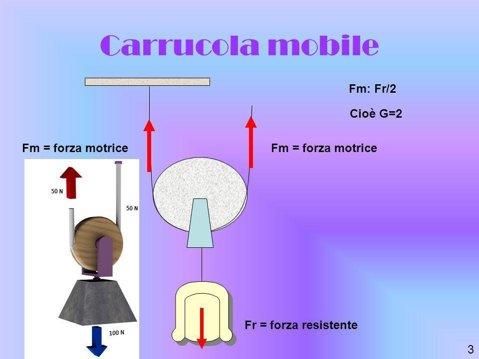 Carrucola mobile Fm: Fr/2 Cioè G=2 Fm = forza motrice