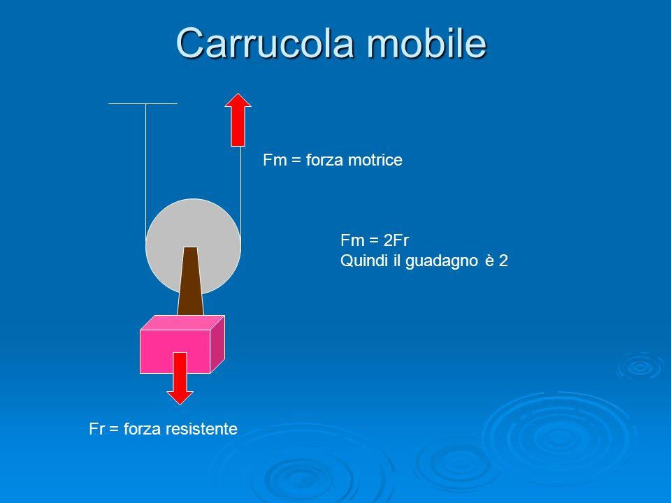 Carrucola mobile Fm = forza motrice Fm = 2Fr Quindi il guadagno è 2