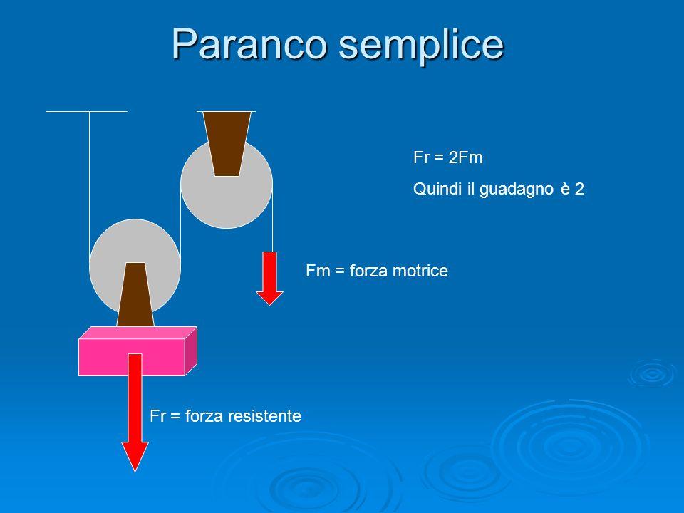 Paranco semplice Fr = 2Fm Quindi il guadagno è 2 Fm = forza motrice