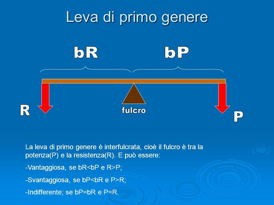 Leva di primo genere bR. bP. R. fulcro. P.