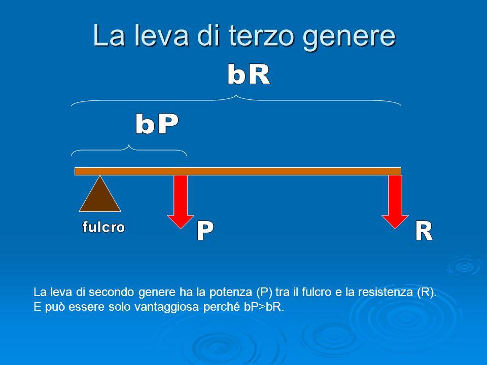 La leva di terzo generebR. bP. fulcro. P. R. La leva di secondo genere ha la potenza (P) tra il fulcro e la resistenza (R).