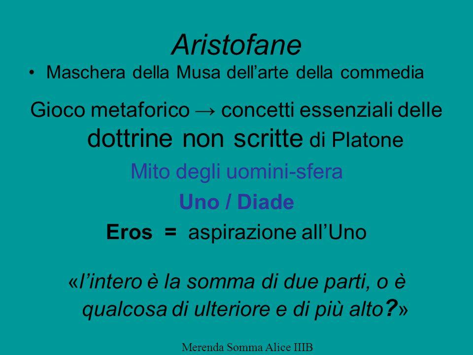 Aristofane Maschera della Musa dell'arte della commedia. Gioco metaforico → concetti essenziali delle dottrine non scritte di Platone.