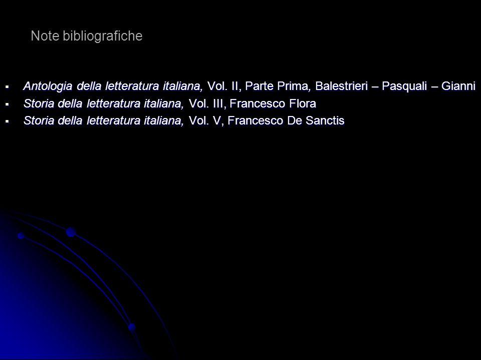 Note bibliografiche Antologia della letteratura italiana, Vol. II, Parte Prima, Balestrieri – Pasquali – Gianni.