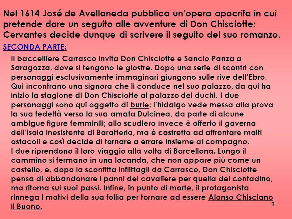Nel 1614 José de Avellaneda pubblica un'opera apocrifa in cui pretende dare un seguito alle avventure di Don Chisciotte: Cervantes decide dunque di scrivere il seguito del suo romanzo.