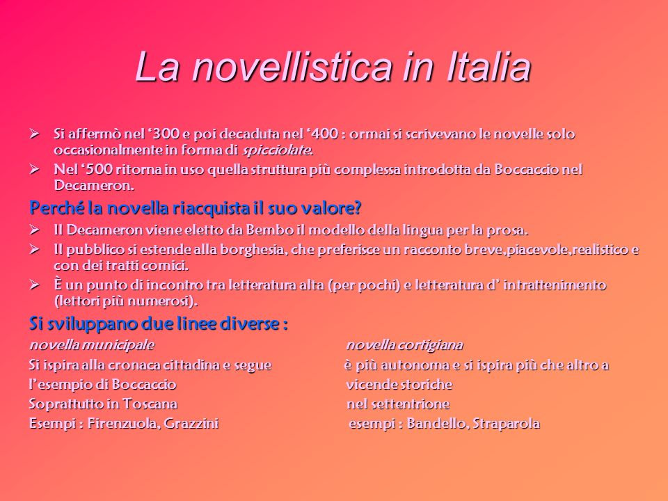 La novellistica in Italia