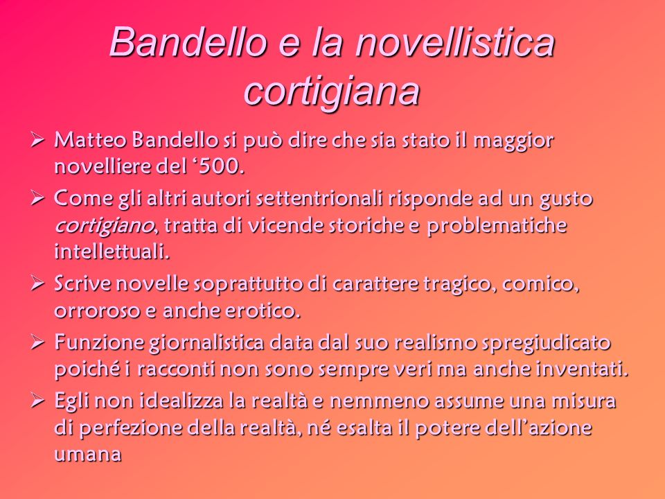 Bandello e la novellistica cortigiana