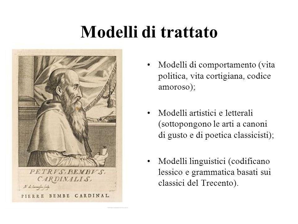 Modelli di trattato Modelli di comportamento (vita politica, vita cortigiana, codice amoroso);