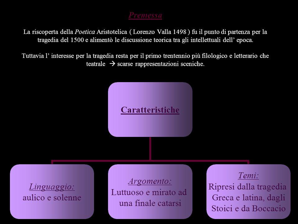 Premessa La riscoperta della Poetica Aristotelica ( Lorenzo Valla 1498 ) fu il punto di partenza per la tragedia del 1500 e alimentò le discussione teorica tra gli intellettuali dell' epoca.