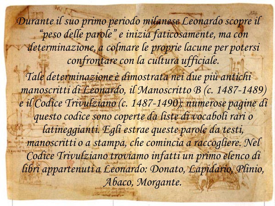 Durante il suo primo periodo milanese Leonardo scopre il peso delle parole e inizia faticosamente, ma con determinazione, a colmare le proprie lacune per potersi confrontare con la cultura ufficiale.