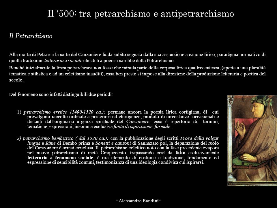 Il '500: tra petrarchismo e antipetrarchismo