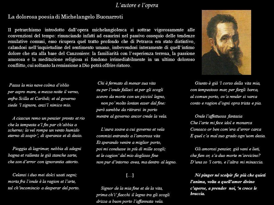L'autore e l'opera La dolorosa poesia di Michelangelo Buonarroti