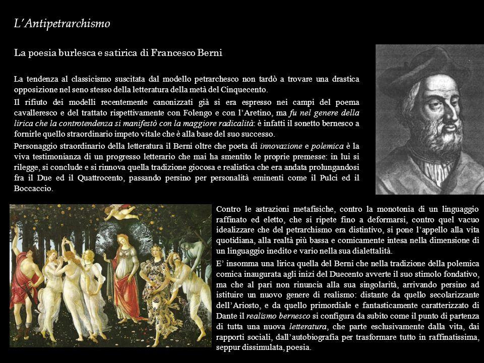 L'Antipetrarchismo La poesia burlesca e satirica di Francesco Berni