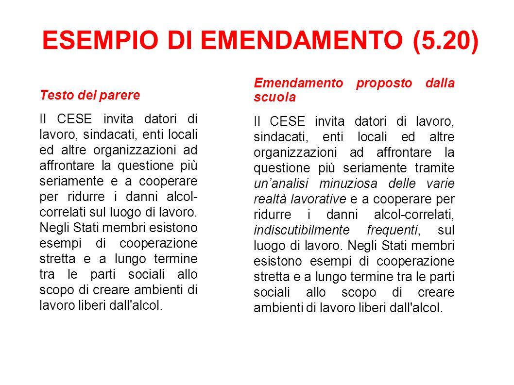 ESEMPIO DI EMENDAMENTO (5.20)