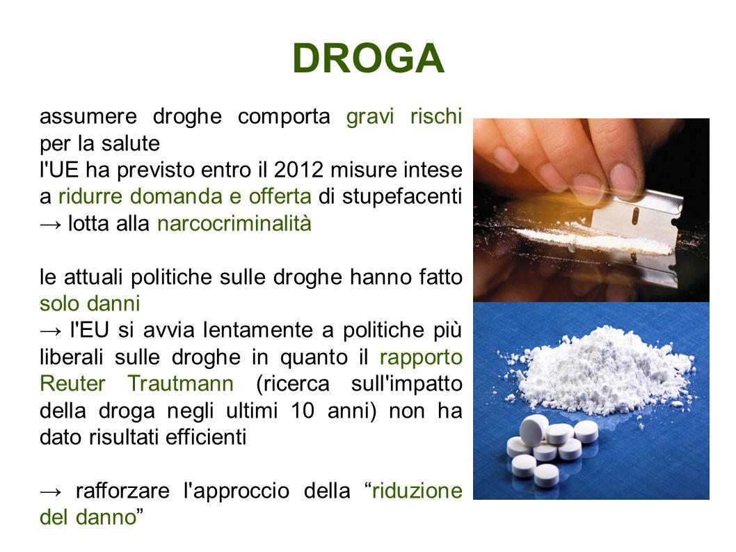 DROGA assumere droghe comporta gravi rischi per la salute
