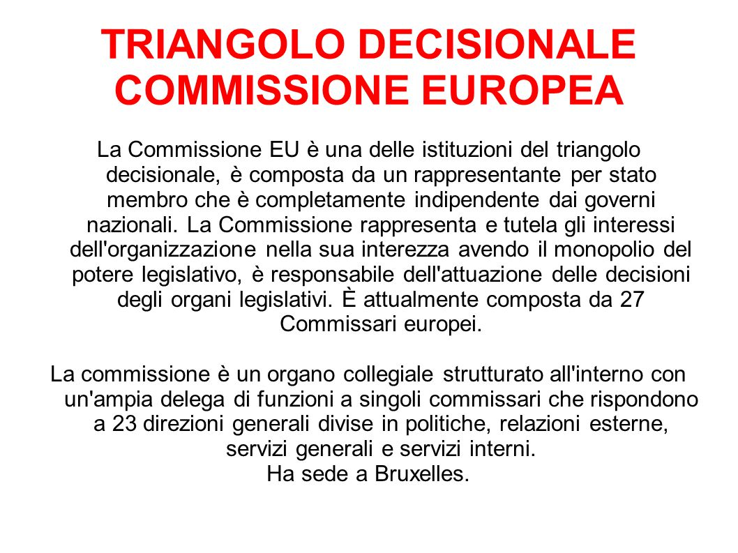 TRIANGOLO DECISIONALE COMMISSIONE EUROPEA