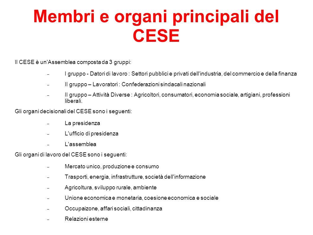 Membri e organi principali del CESE