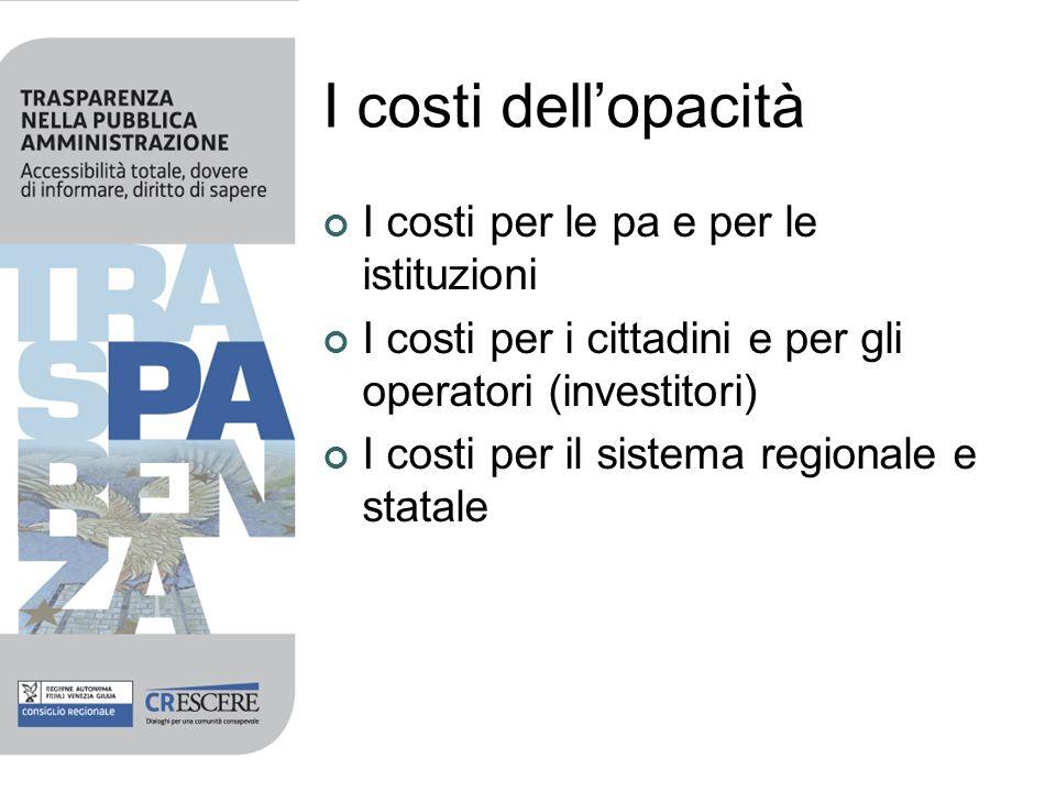 I costi dell'opacità I costi per le pa e per le istituzioni