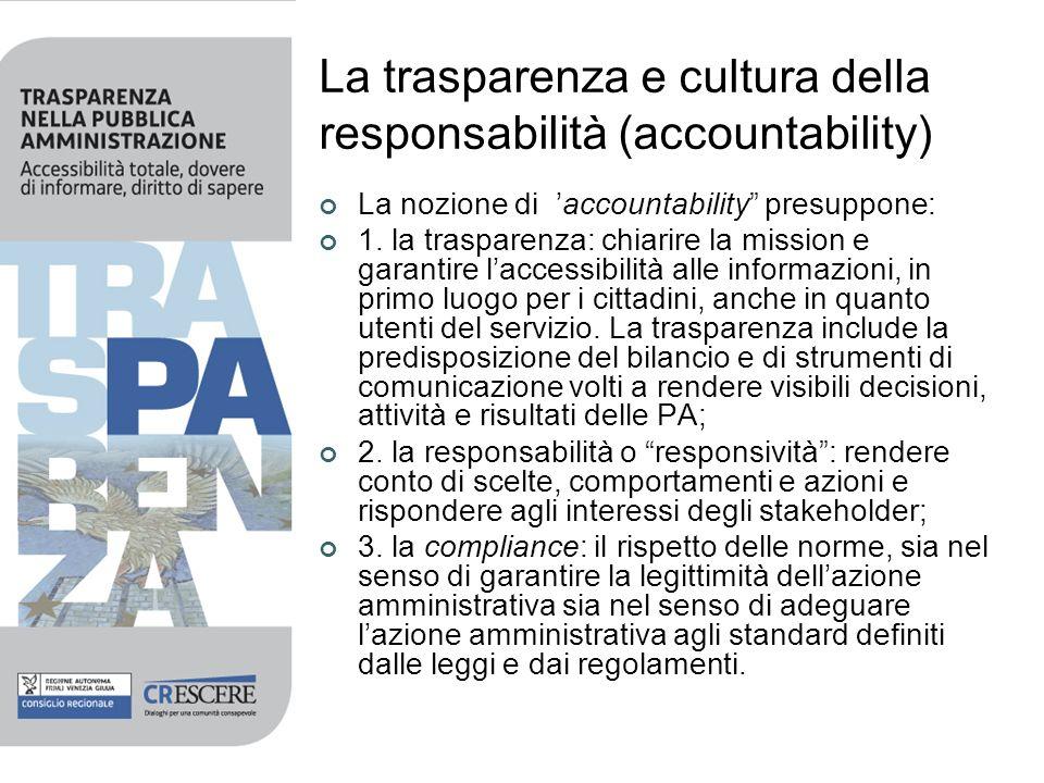 La trasparenza e cultura della responsabilità (accountability)