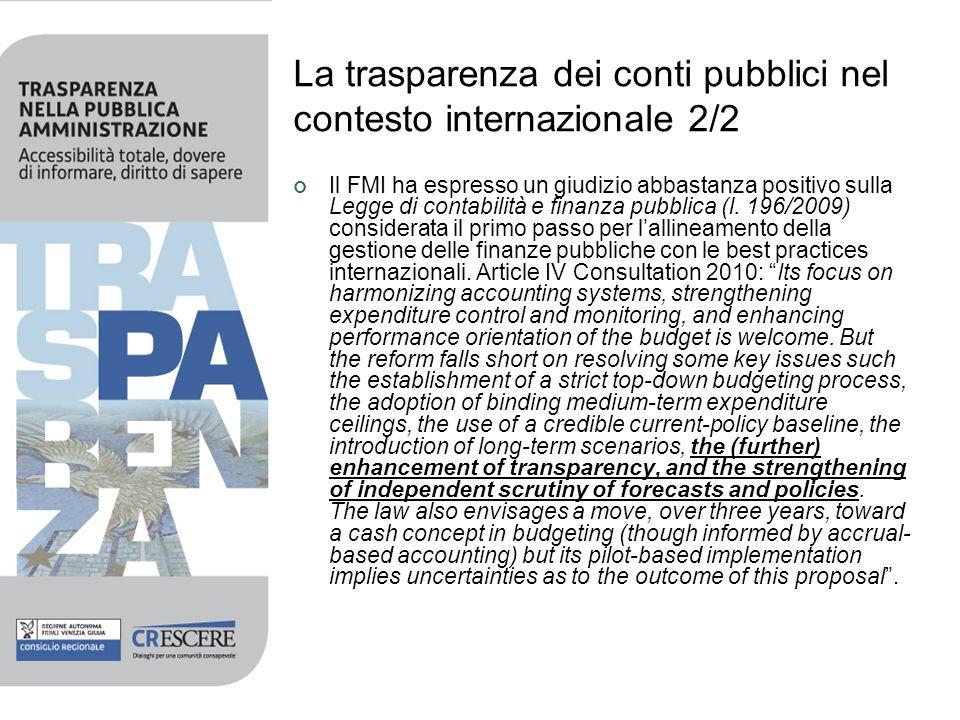La trasparenza dei conti pubblici nel contesto internazionale 2/2