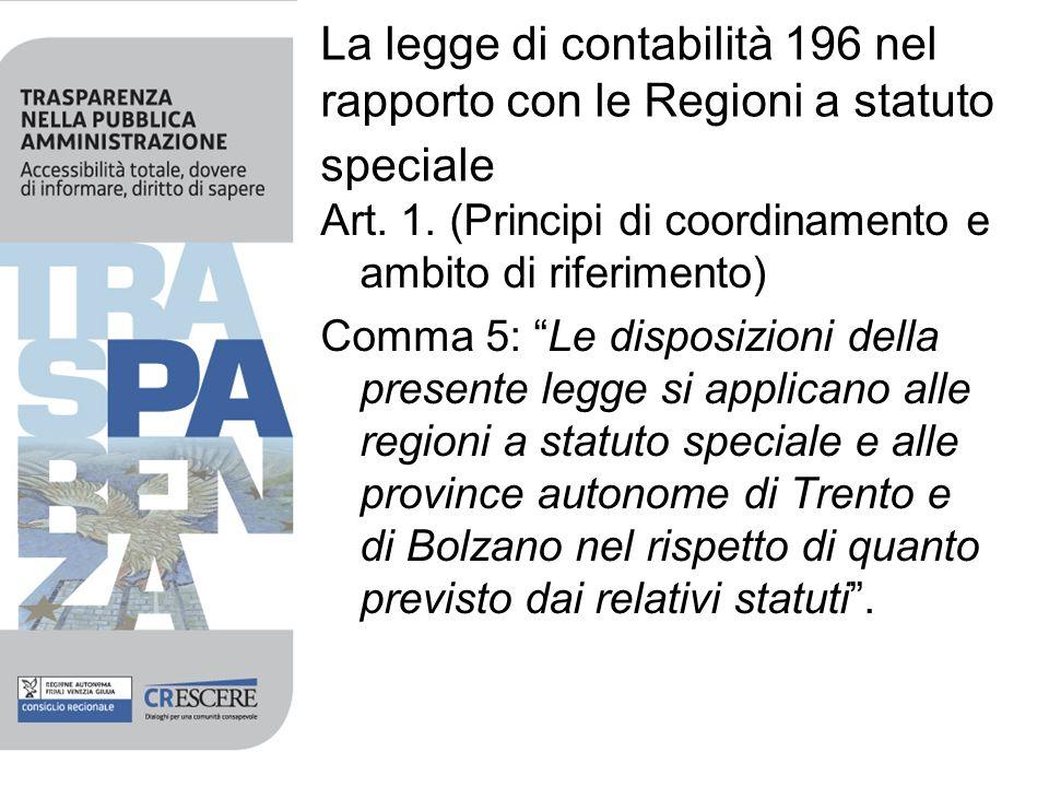 La legge di contabilità 196 nel rapporto con le Regioni a statuto speciale