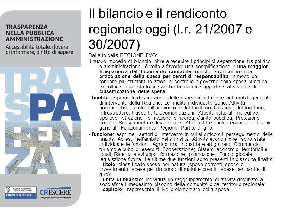 Il bilancio e il rendiconto regionale oggi (l.r. 21/2007 e 30/2007)