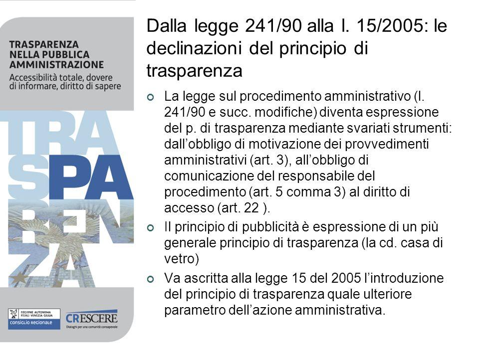 Dalla legge 241/90 alla l. 15/2005: le declinazioni del principio di trasparenza