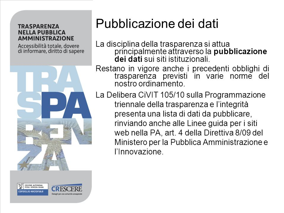 Pubblicazione dei dati