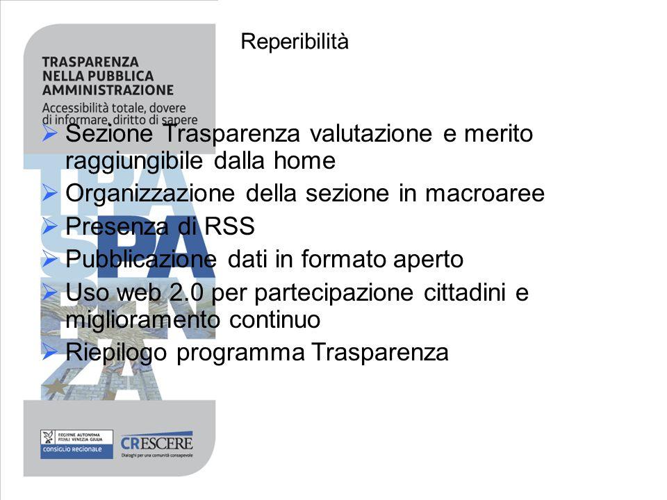 Sezione Trasparenza valutazione e merito raggiungibile dalla home