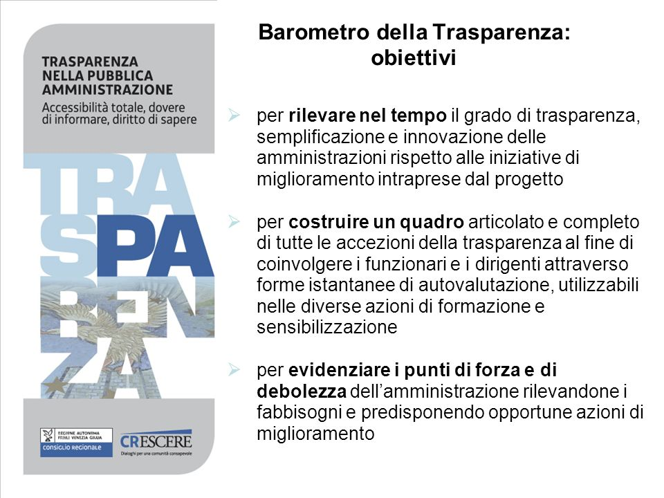 Barometro della Trasparenza: obiettivi