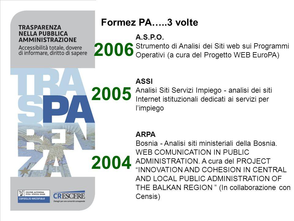 Formez PA…..3 volte A.S.P.O. Strumento di Analisi dei Siti web sui Programmi Operativi (a cura del Progetto WEB EuroPA)