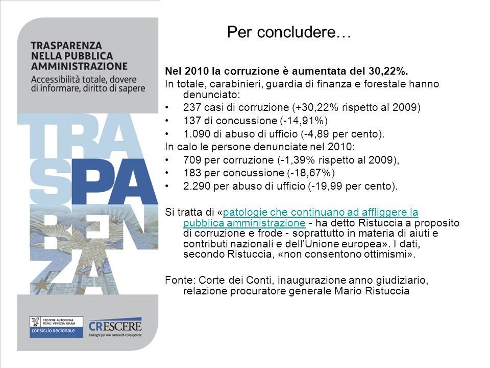 Per concludere… Nel 2010 la corruzione è aumentata del 30,22%.