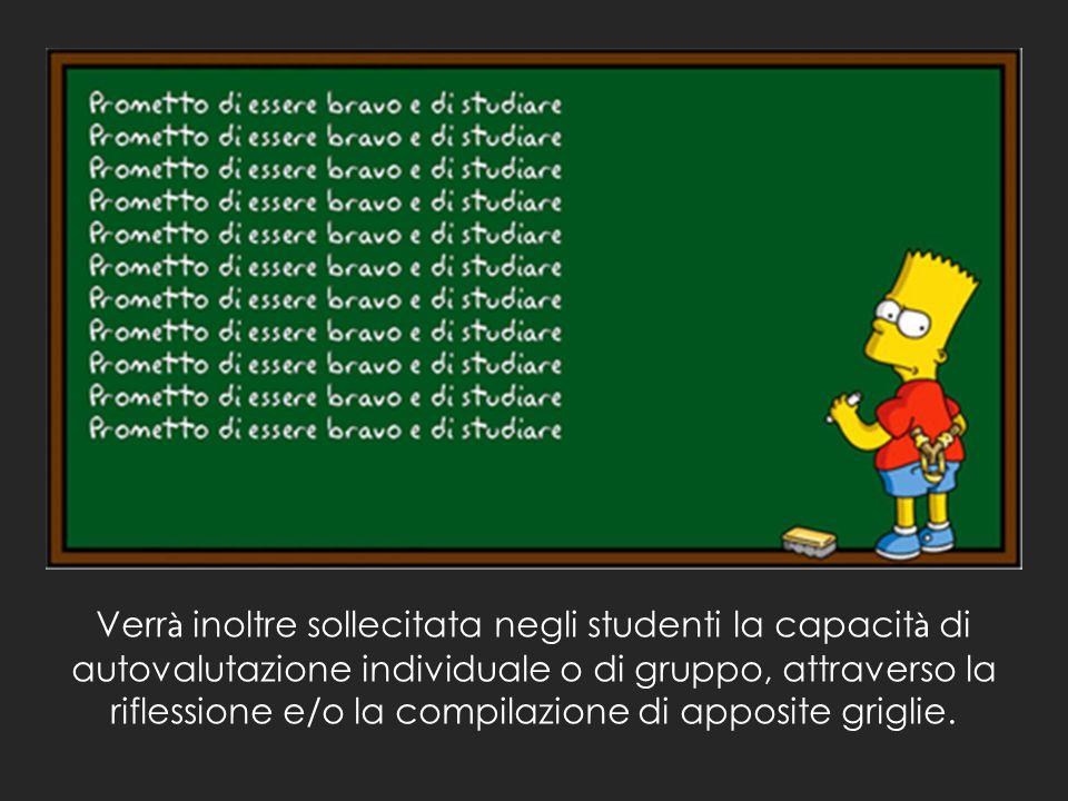 Verrà inoltre sollecitata negli studenti la capacità di autovalutazione individuale o di gruppo, attraverso la riflessione e/o la compilazione di apposite griglie.