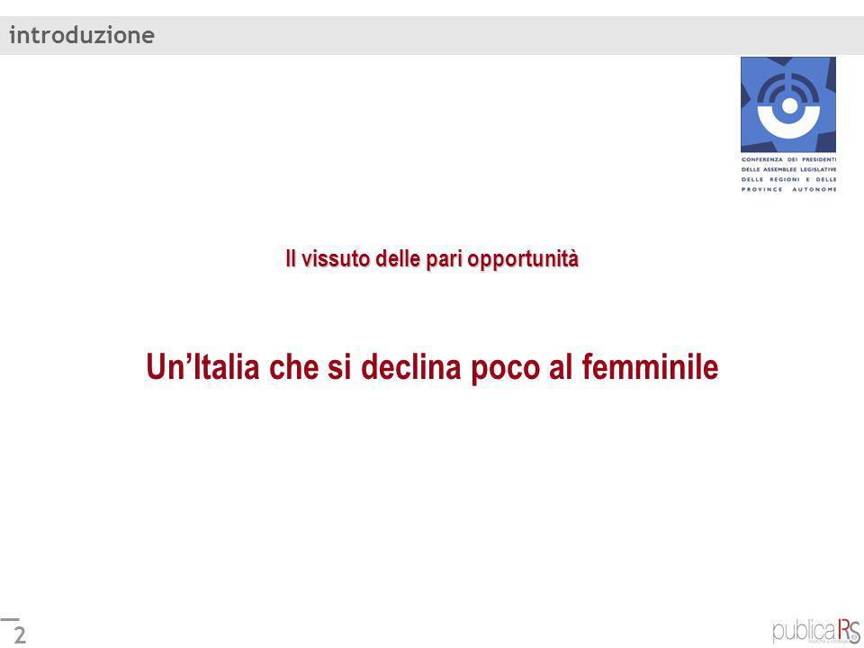 introduzione Il vissuto delle pari opportunità Un'Italia che si declina poco al femminile