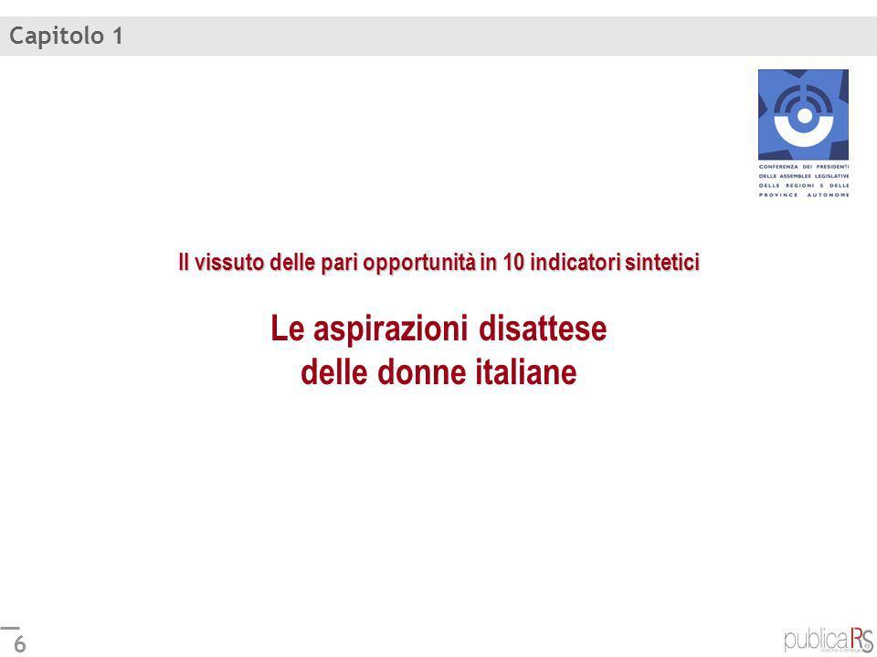 Capitolo 1Il vissuto delle pari opportunità in 10 indicatori sintetici Le aspirazioni disattese delle donne italiane.