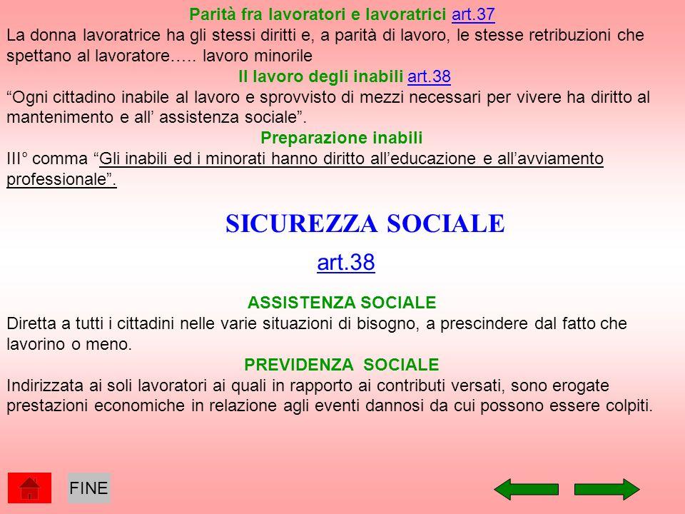 SICUREZZA SOCIALE art.38 Parità fra lavoratori e lavoratrici art.37