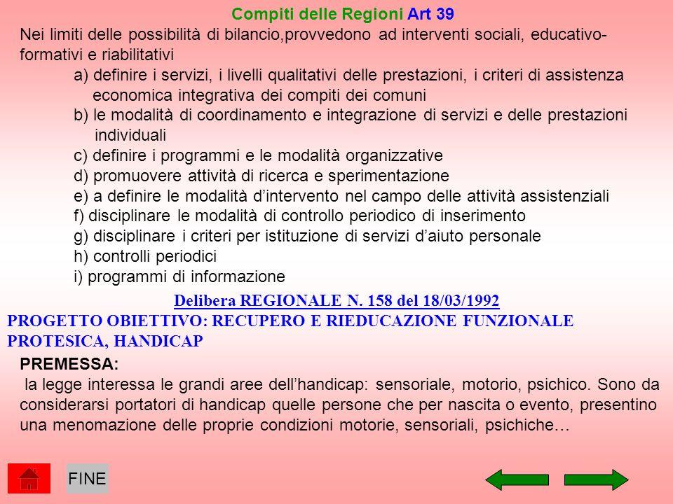 Compiti delle Regioni Art 39 Delibera REGIONALE N. 158 del 18/03/1992