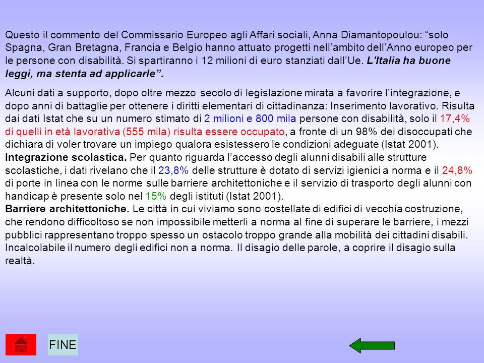 Questo il commento del Commissario Europeo agli Affari sociali, Anna Diamantopoulou: solo Spagna, Gran Bretagna, Francia e Belgio hanno attuato progetti nell'ambito dell'Anno europeo per le persone con disabilità. Si spartiranno i 12 milioni di euro stanziati dall'Ue. L Italia ha buone leggi, ma stenta ad applicarle .
