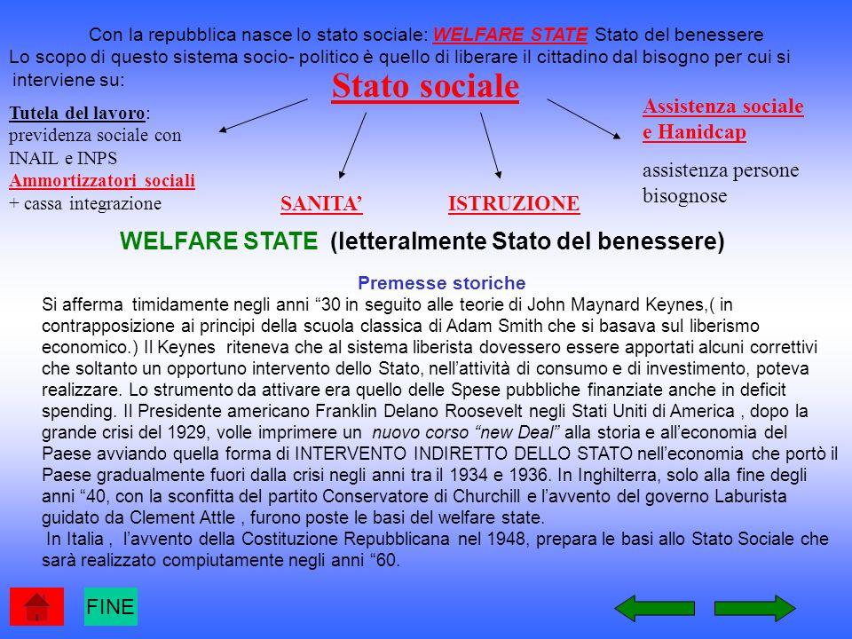 WELFARE STATE (letteralmente Stato del benessere)
