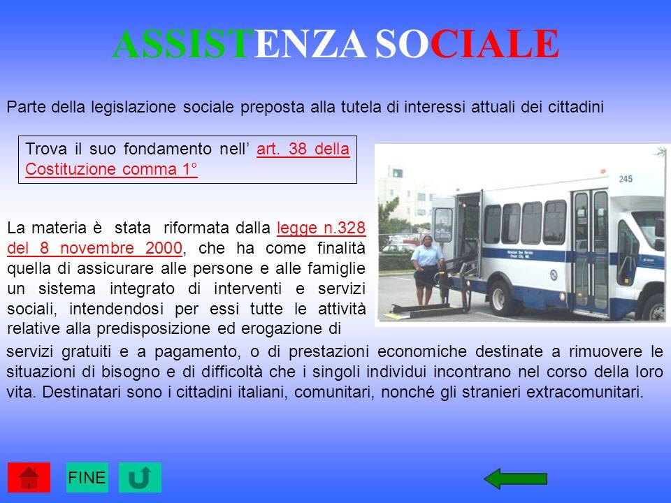 ASSISTENZA SOCIALE Parte della legislazione sociale preposta alla tutela di interessi attuali dei cittadini.