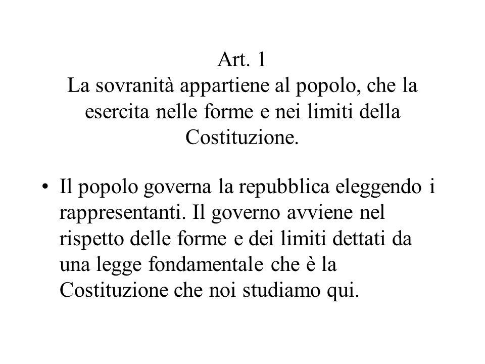 Art. 1 La sovranità appartiene al popolo, che la esercita nelle forme e nei limiti della Costituzione.