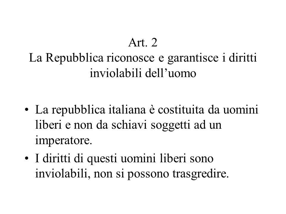 Art. 2 La Repubblica riconosce e garantisce i diritti inviolabili dell'uomo