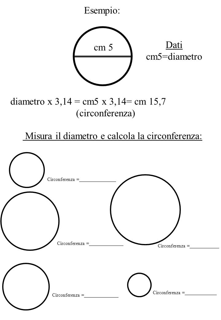 Misura il diametro e calcola la circonferenza: