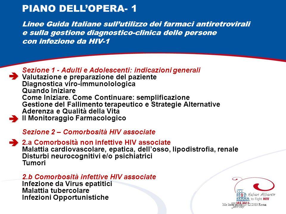 PIANO DELL'OPERA- 1 Linee Guida Italiane sull'utilizzo dei farmaci antiretrovirali. e sulla gestione diagnostico-clinica delle persone.