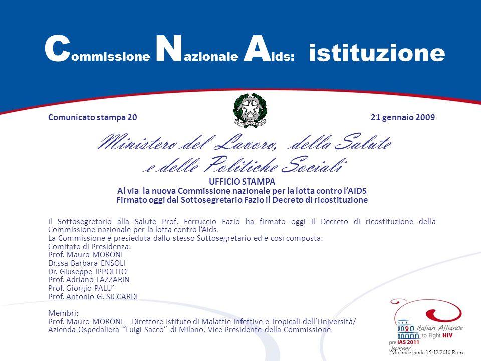 Commissione Nazionale Aids: istituzione